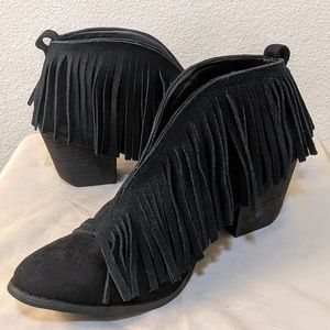 Corkys Fringed Black Leather Ankle Boots